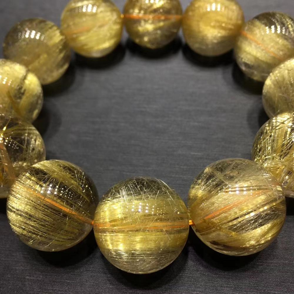 Top Natural Gold Rutilated Quartz Titanium Crystal Woman Man Round Beads Bracelet 19mm Jewelry Fashion Stone Certificate AAAAAAA in Bracelets Bangles from Jewelry Accessories