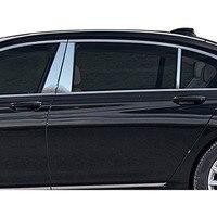 6 pçs janela do carro de alumínio polido b c pilar post guarnição da cobertura para bmw série 7 g11 g12 730 740 750i 2016 2017