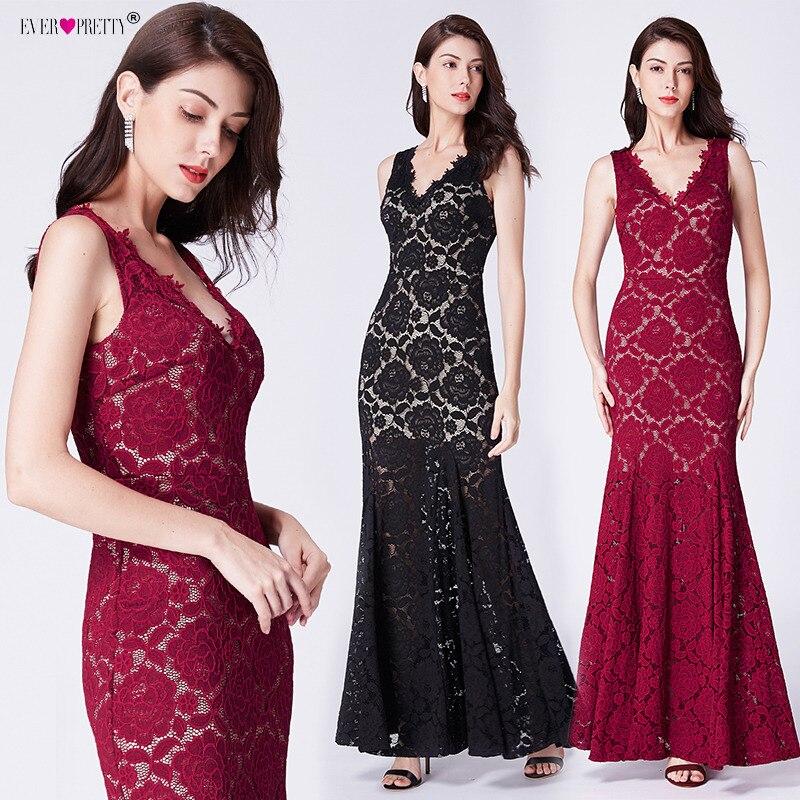 84423e6540a4 Vestidos de Noche de encaje largo siempre bonito elegante profundo cuello  en V largo hasta el suelo ...