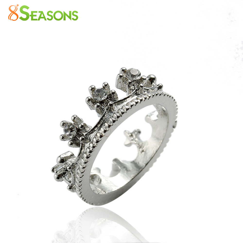 8SEASONS Fashion Rhinestone Queens Crown Ring Women Elegant Luxury Rose Gold-color Engagement Party Bijoux Wedding