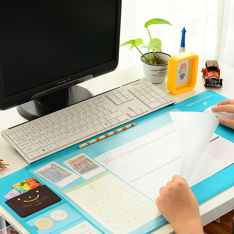 Kawaii Large PVC Waterproof Desk Pad Multi-function Desktop Organizer Stationery Holder Mouse Pad  Writing Pad Office Supplies