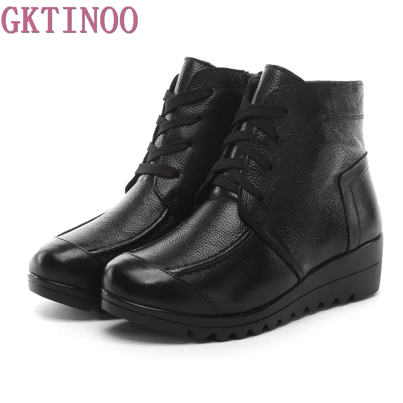 2018 Winter Women Shoes Woman Genuine Leather Wedges Ankle Boots Warm Snow Boots Women B ...