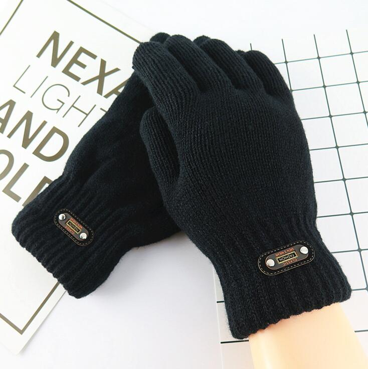 Men's Winter Double Layer Thicken Warm Black Color Knitted Gloves Male Solid Color Fleece Lining Driving Glove R288
