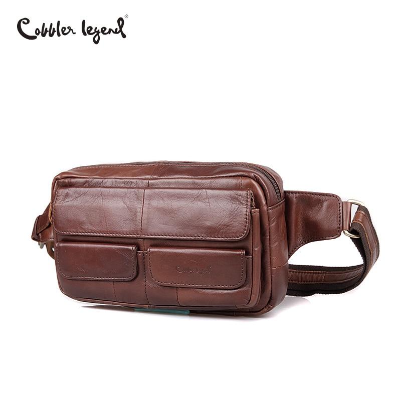 Cobbler Legend Genuine Leather Shoulder Bag Casual Travel Bag Men Bag Messenger Brand Natural Cowhide Cell Phone Waist Bag Small