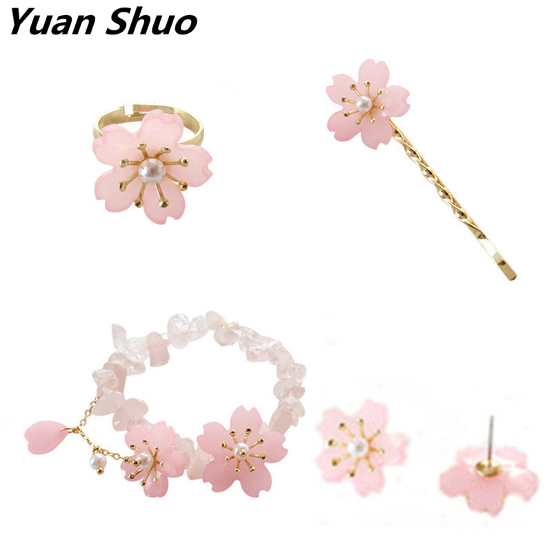 2018 New Europe United States and the wind Sakura girl small fresh and sweet lady bracelet ring word clip Hair clip Stud Earring