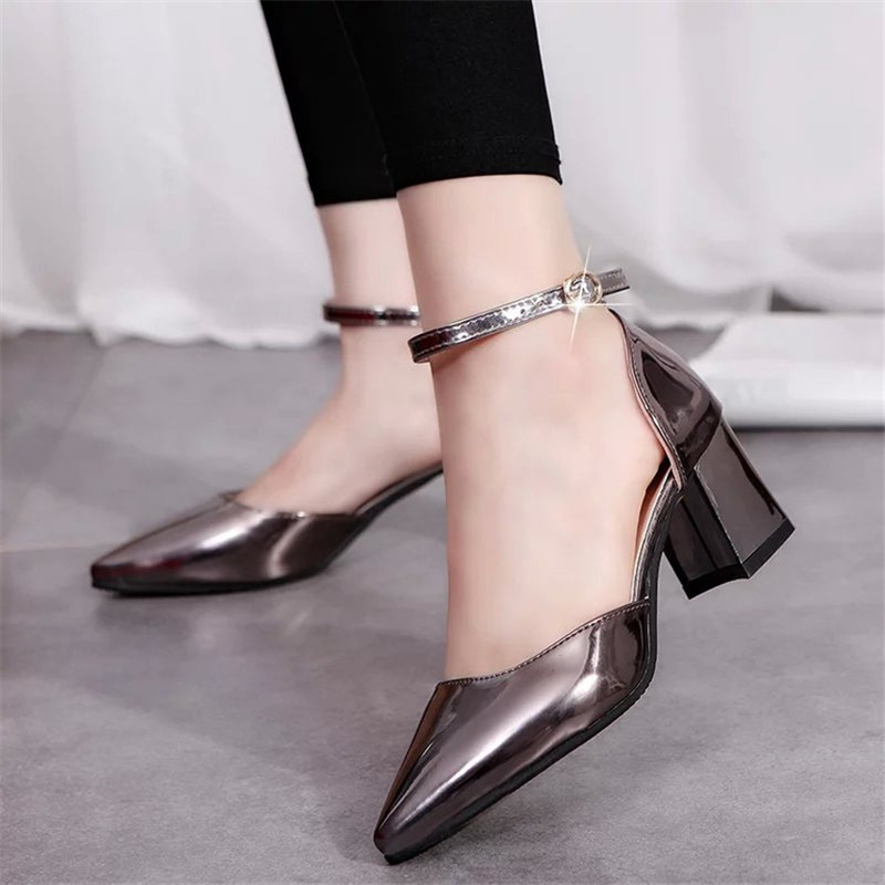 2016 pointed toe fashion high-heeled shoes thick heel shoes shallow mouth patent leather small