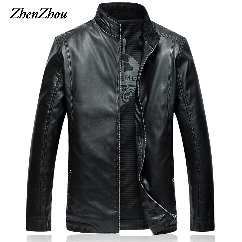 5XL-8XL Casual Solid Stand Collar Leather Jacket Men 2017 Autumn Winter Jacket Men Leather Jackets Male Plus Size Top Quality top quality men winter jackets fashion luxury print slim fit men parkas stand collar long sleeve plus size padded coat male 5xl
