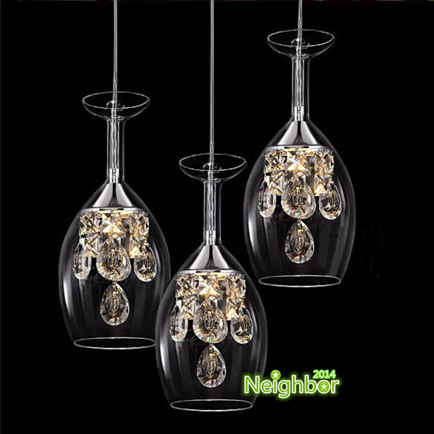 Modern Crystal Wine Glasses Pendant Lights Hanging Lamp LED Dining Room Living Lighting Fixture