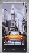 1 pc New York city Taxi USA America yellow plaques shop store Tin Plates Signs wall Decoration Metal Art Vintage Poster