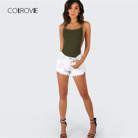 COLROVIE Army Green Criss Cross Strappy Backless Sexy Bodysuit Summer Mid Waist Night Out Stretchy Women Bodysuits Multan