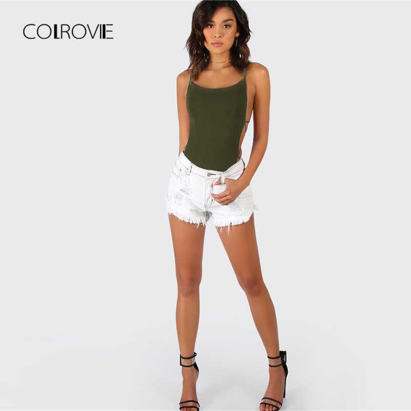 COLROVIE Army Green Criss Cross Strappy Backless Sexy Bodysuit verano media cintura noche fuera elástico Mujer Bodysuits