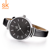 Shengke High Quality Fashion Leather Strap Women Watch Casual Simple Quartz Wristwatch Relogio Feminino Ladies Luxury