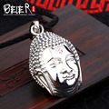 Beier new store 100% 925 thai silver sterling buddha pendant necklace punk fashion jewelry free give rope A1952