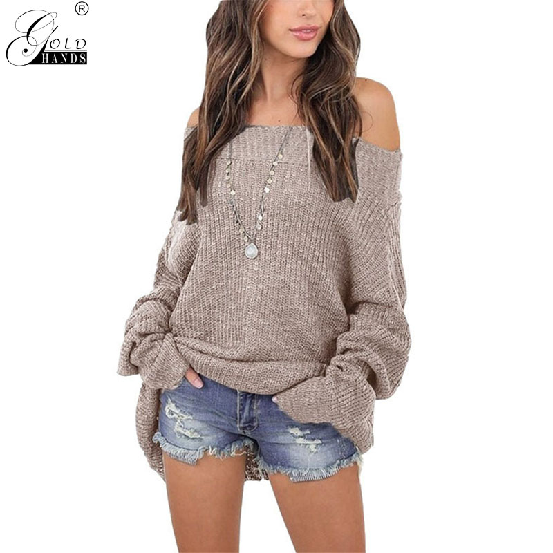 Gold Hands Women Autumn Winter Office Lady Off Shoulder Hand Knitted Batwing Sleeves Pullover Sewater Long Sleeves Solid Sweater