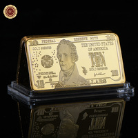 WR Usd 5 American Currency Bill Note Gold Bar Quality 5 Dollar Gold 24k Gold Banknote Fake Bars Art Crafts Value Collection