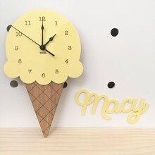 Nordic мороженое настенные часы мультфильм тихие часы стены домашний декор Детская комната украшения стены милый орнамент подарок для ребенка Reloj De Pared