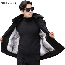 4XL New Mens Winter Black Jacket Coats Thick Parkas Plus Size Real Mink Collar Mink Fur Lining Outwear Business Fur coat