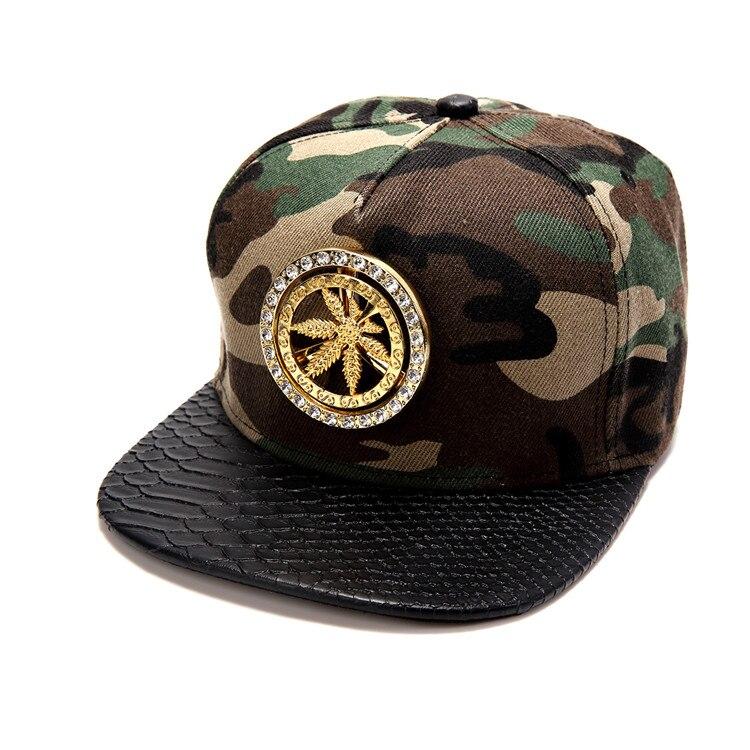 Hip Hop Style Women Men Bling Golden Spin Rhinestone Hemp Leaf Snapback Hats Gorras golf sports Diamond Weed Baseball Caps