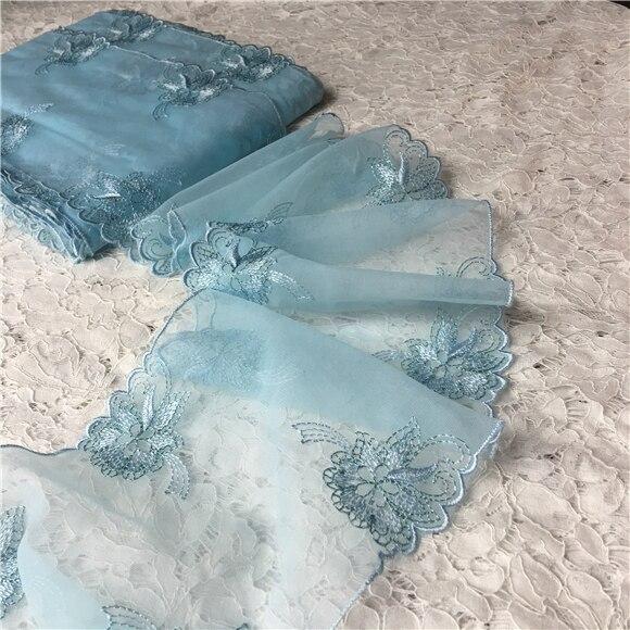 new product d6996 ee0e9 US $7.77 |15 cm breiten Netz garn stickerei wasserlösliche spitze trim  hellblau kleid spitze zubehör spitze stoff in 15 cm breiten Netz garn ...