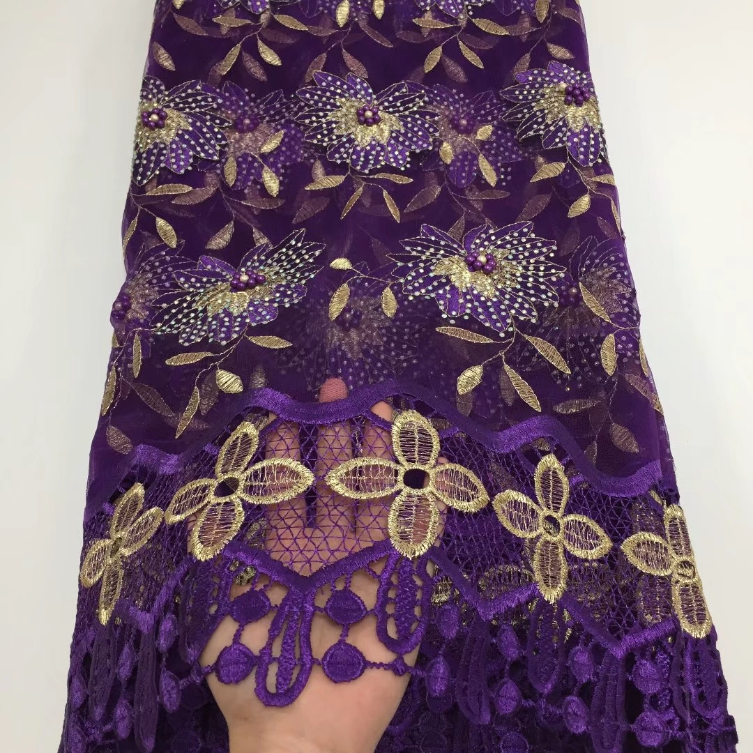 BEAUTIFICAL nigerian net lace purple beaded lace fabric with guipure cord laces fabric  ML25N134BEAUTIFICAL nigerian net lace purple beaded lace fabric with guipure cord laces fabric  ML25N134