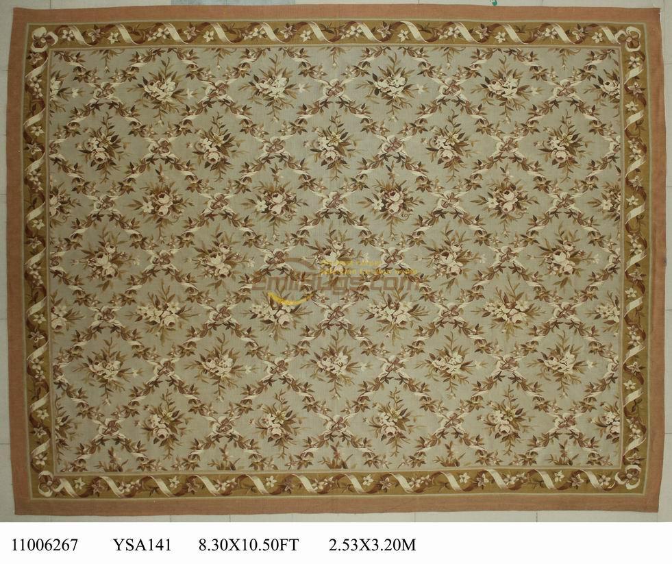 Tapis de laine français aubusson tapis 253 CM X 320 CM 8,3x 10.5 'Beige grand côté beige gc88aubYSA141