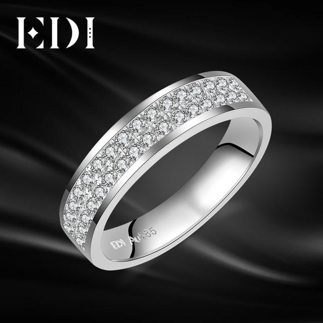 c4c447ad822c EDI классический 14 К белого золота навсегда бриллиант Moissanite бриллиантами  обручальное кольцо для Для женщин и