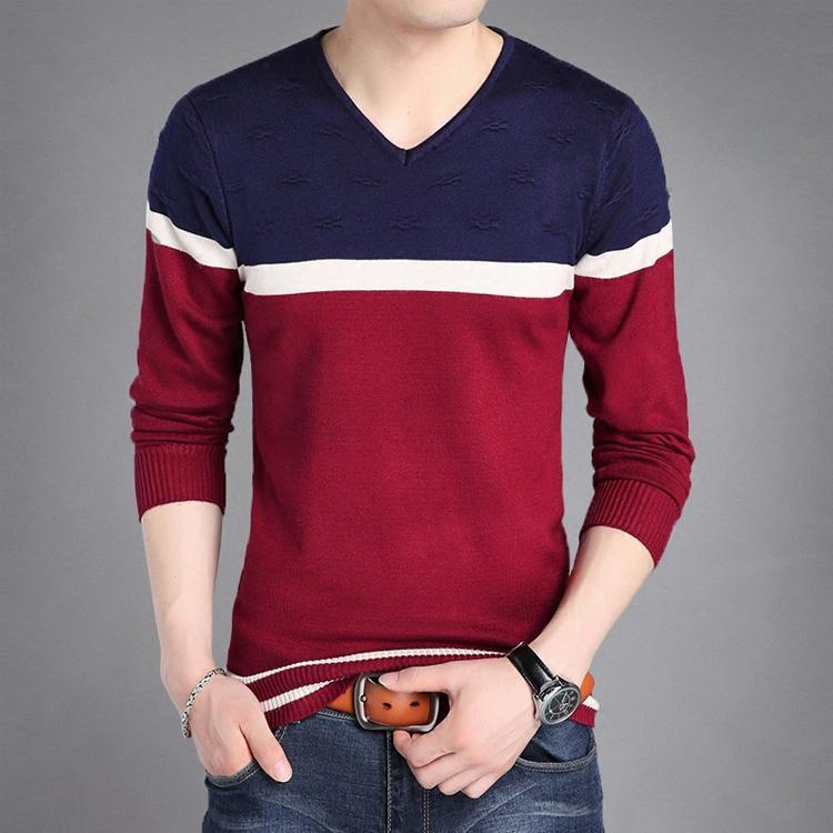 100% Wahr 2019 Herbst Neue Dünne V-ausschnitt Volle Jugend Dünne Strickjacke Voll Pullover Männer Patchwork Herren Pullover Rot Grau Männer Kleidung