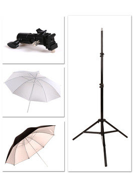 Off camera flash umbrella umbrella set metal E type lamp holder + telescopic 2 meter thick lamp holder soft light 33 inch CD50