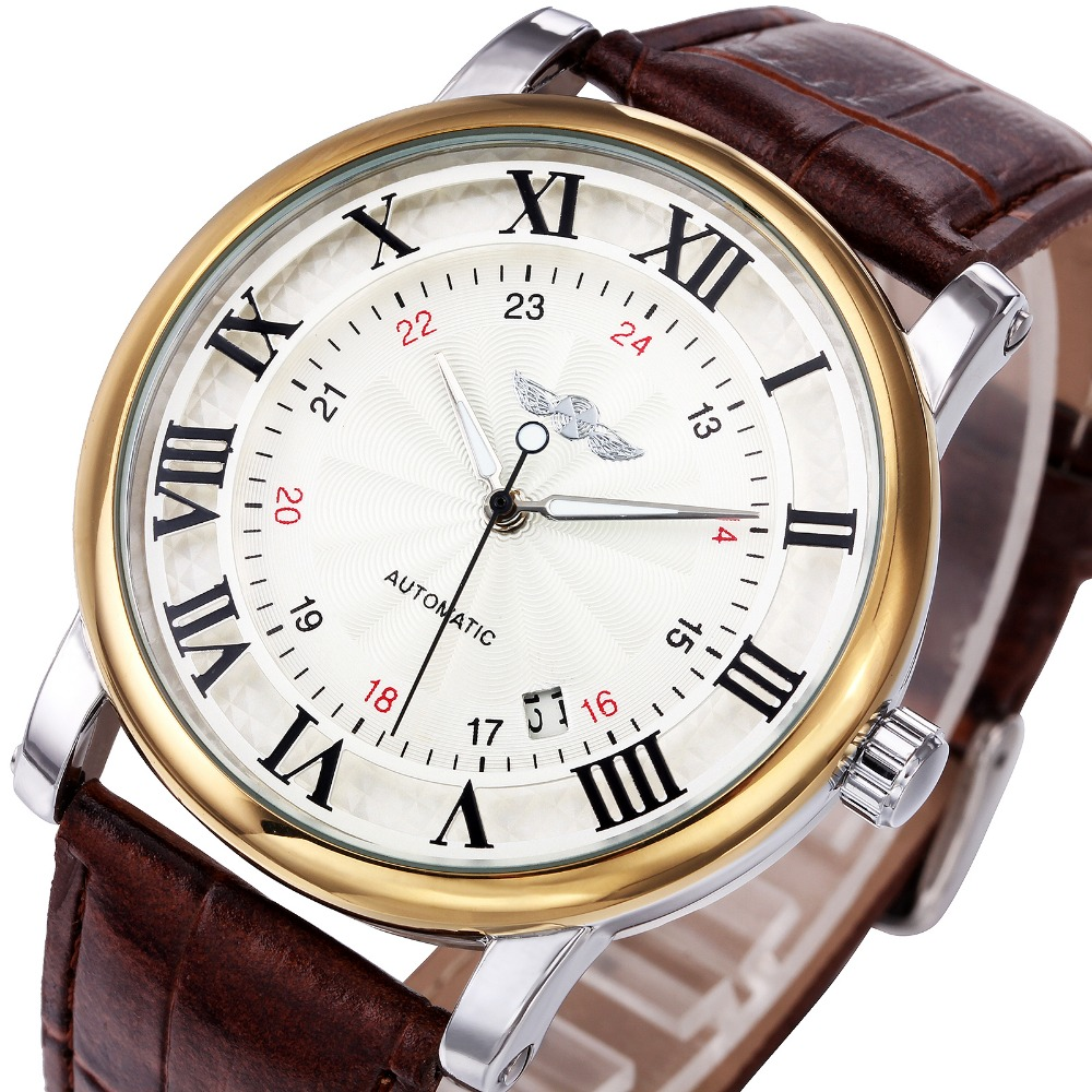 WINNER Fashion Causal Roman Number Men Self-wind Mechanical Wrist Watches 24-hour Calendar Date Dial Soft Leather Strap Gifts ks luxury automatic self wind date day 24 hours black 3 dial steel strap mechanical wrist watches mens gents timepieces ks307