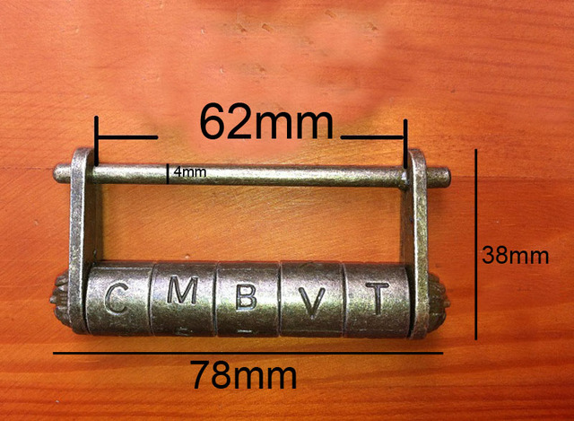 tungfull antique padlock large alphabet password lock vintage lock