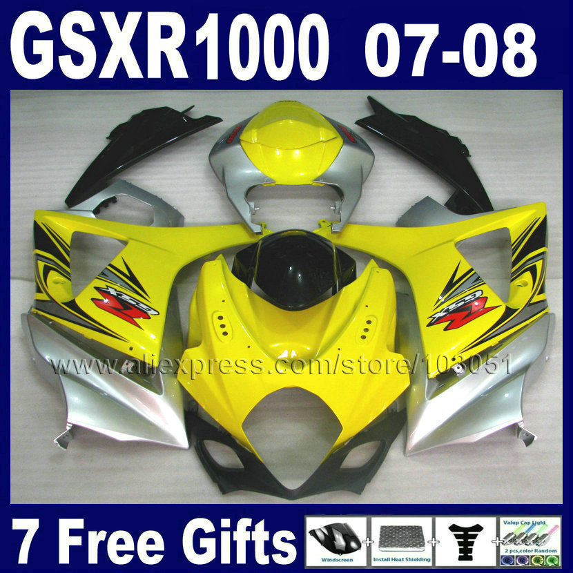 Custom motorcycle fairings kits for SUZUKI GSXR 1000 2007 GSXR 1000 2008 GSXR1000 K7 07 08 yellow silver body fairing kit parts abs motorcycle parts for suzuki gsxr 1000 k7 k8 07 08 fairing kit gsxr1000 2007 2008 white silver black fairings set js87