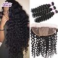 13*4 Ear To Ear Silk Base Frontal With Bundles Cheap 7A Deep Wave Virgin Malaysian Human Hair Silk Base Closure With Bundles