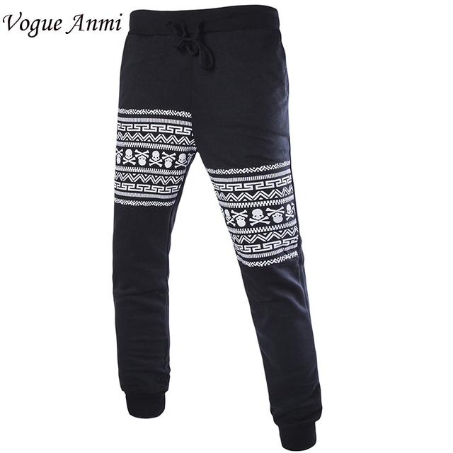 Vogue Anmi 2017 Fashion Human Skeleton Print Pants Hip Hop Men Joggers Pants men Harem Pants Slim  Sweatpants