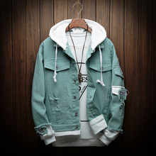 2019 Autumn New Hooded Denim Jacket Men Fashion Fake Two Pieces Streetwear Bomber Jacket and Coat Man Cowboy Clothes S-3XL maggie carpenter cowboy s rules