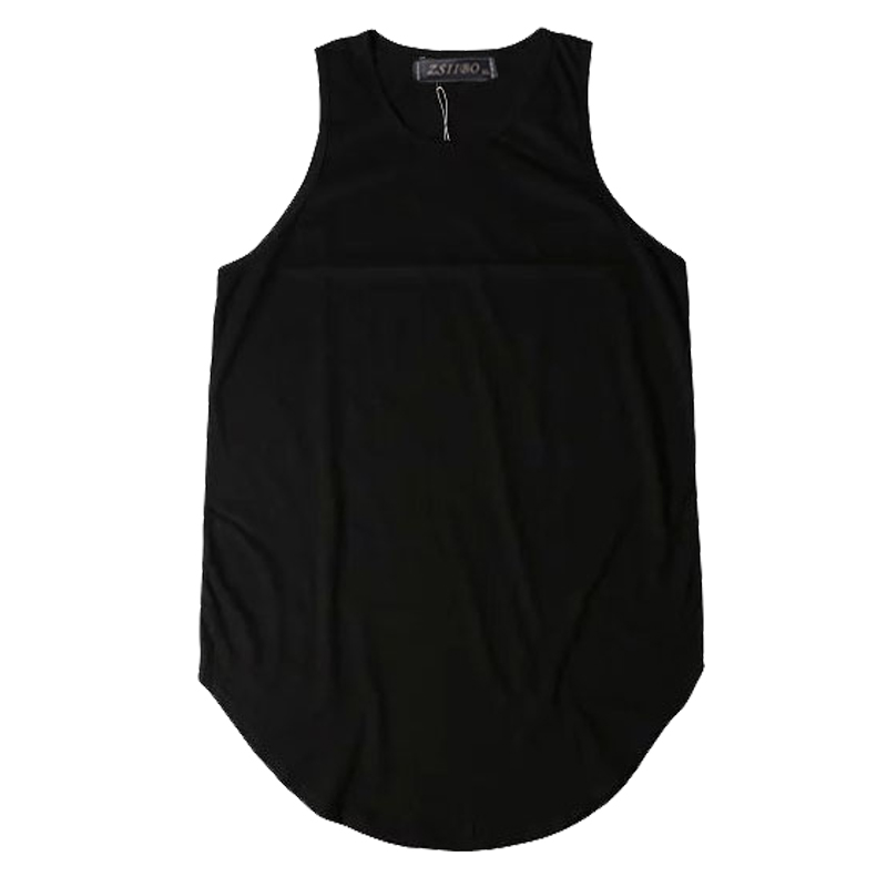 Streetwear Sleeveless Curved Hem Long line   Tops   Summer Hip Hop Extended   tank     top   men Urban Blank Vest Justin Bieber TX151-R
