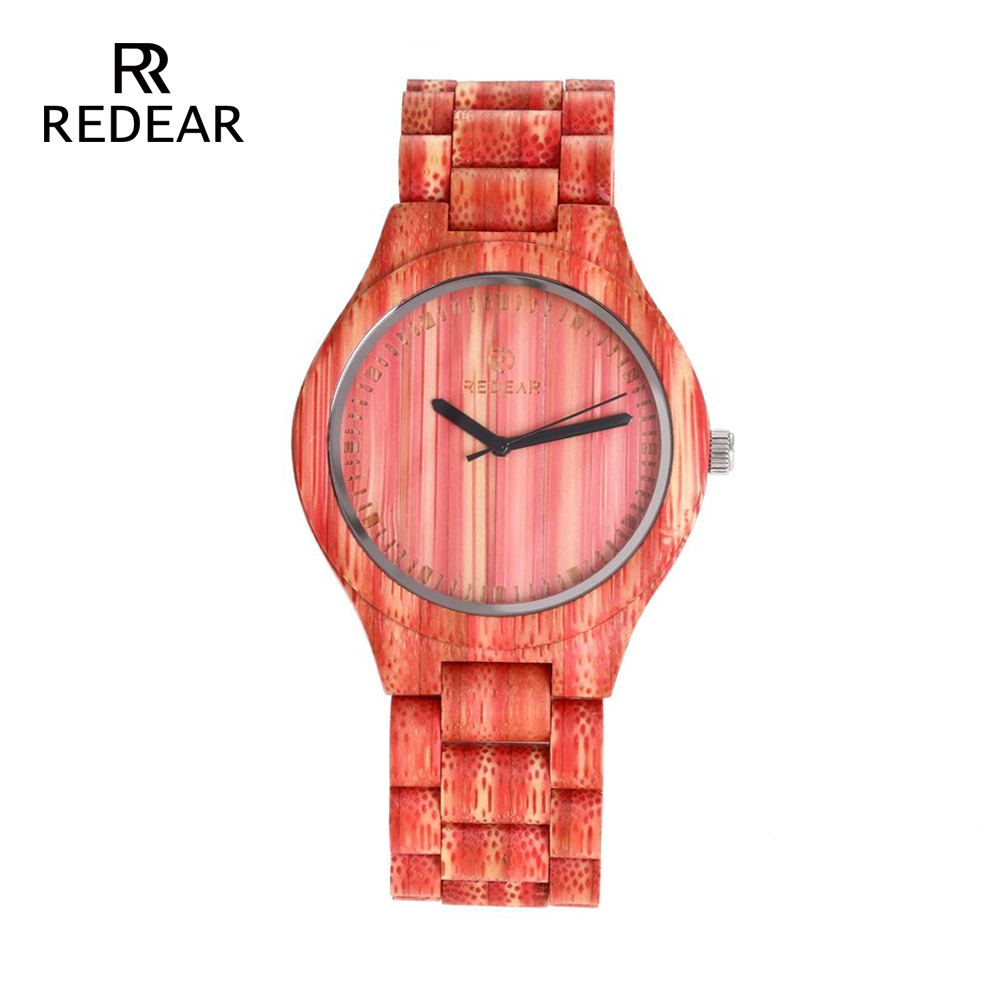REDEAR Lover's Watches Red Bamboo Wood Watch Bamboo Band för Quartz - Damklockor - Foto 2