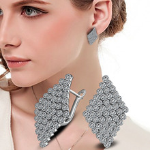 New Arrival Fashion Crystal Stud Earrings For Women Blue/White Crystal Rhombus Square Shape Earrings Silver Color Jewelry Gift