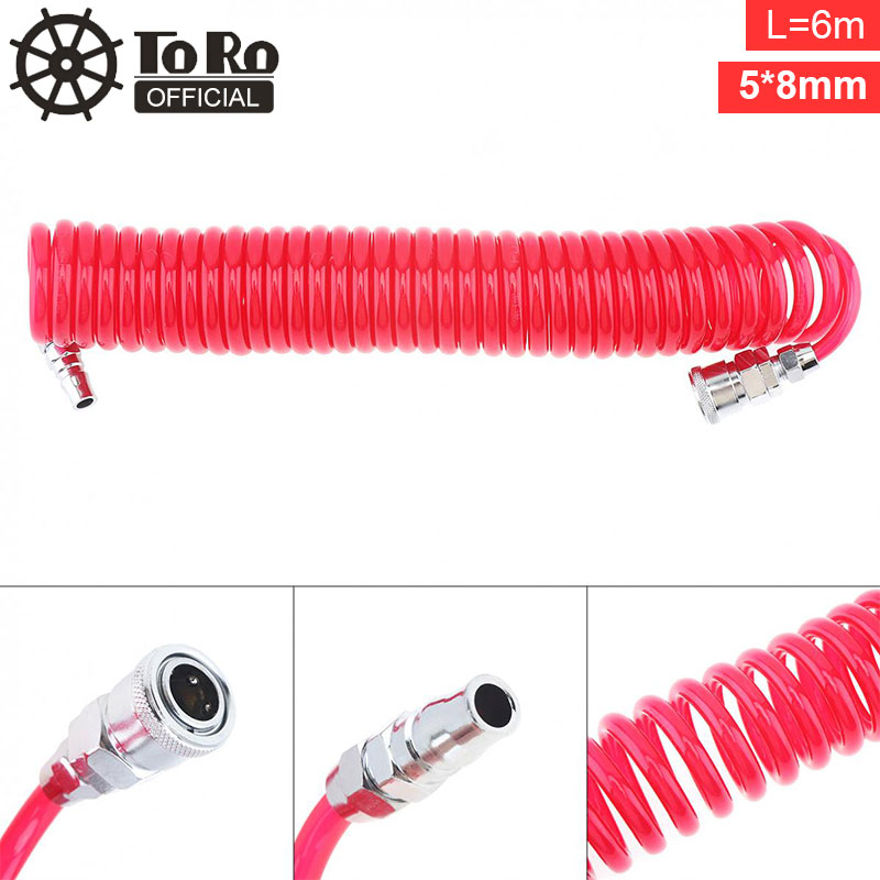 TORO 6M 5 X 8mm Flexible PU Telescopic Hose Spring Tube With Fast Interface And Bayonet Quick Connector For Compressor Air Tool
