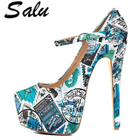 Salu Women's High Heels Shoes Sexy Plus Size 33 43 Pointed Toe Snakeskin Shoes Green Party Sexy Pumps