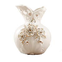 European Style Hollow Flower Vase Ceramic Vase Ornaments Wedding Housewarming Gift Gold Rose Bottle Living Room Decorative R1940