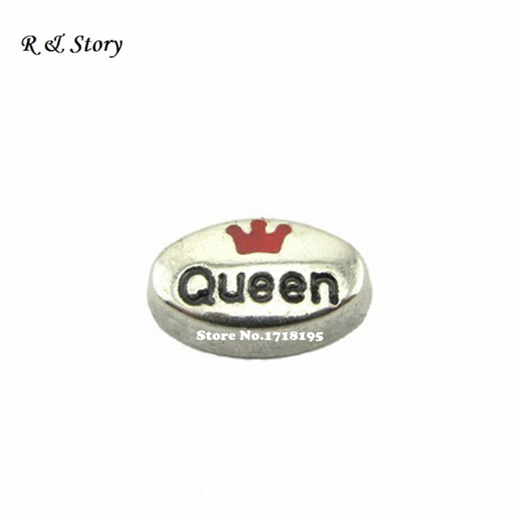 Floating charm Queen with pink crown enamel tiara LFC_1251