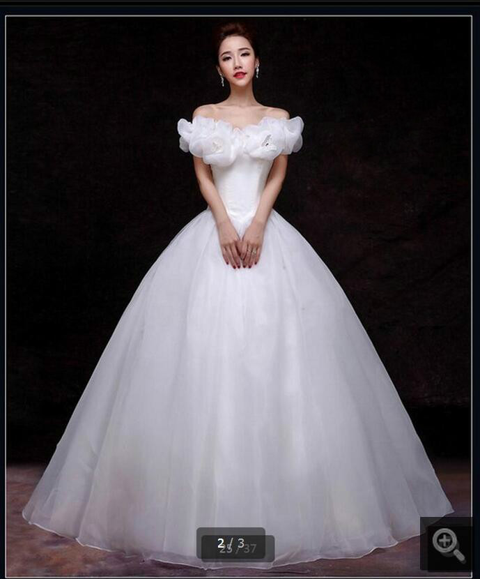 2016 attractive ball gown white wedding dress princess puffy wedding gowns pick-ups formal long bride dress hot sale