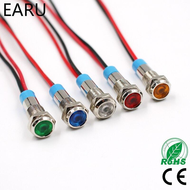 где купить 6mm 3V 5V 6V 9V 12V 24V 110V 220V Waterproof LED Metal Indicator Pilot Light Signal Lamp for Machine Car Red Yellow Blue Green по лучшей цене