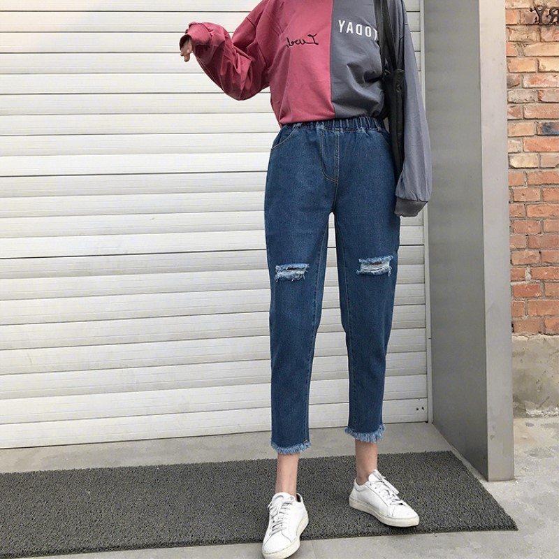 Summer Style Casual Hole Ripped Jeans Women Jeggings Cool Denim High Waist   Pants     Capris   Female Skinny Black Casual Jeans