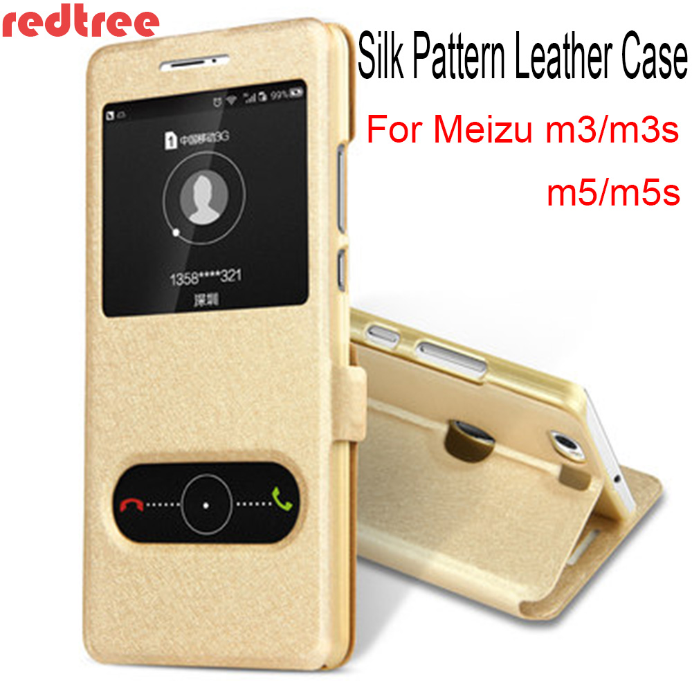 Galleria fotografica REDTREE Silk Pattern Case for Meizu m5 m5s View Window Flip <font><b>Cover</b></font> Wallet <font><b>Smartphone</b></font> Leather Case for Meizu m3 m3s Celular Coque