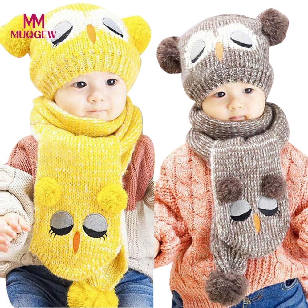2017 Unisex Winter Babys Hat Scaf Set Cute Owl Crochet Knitted Beanie Caps for Boys Girls Children Kids Neck Warmer Scarf Sets