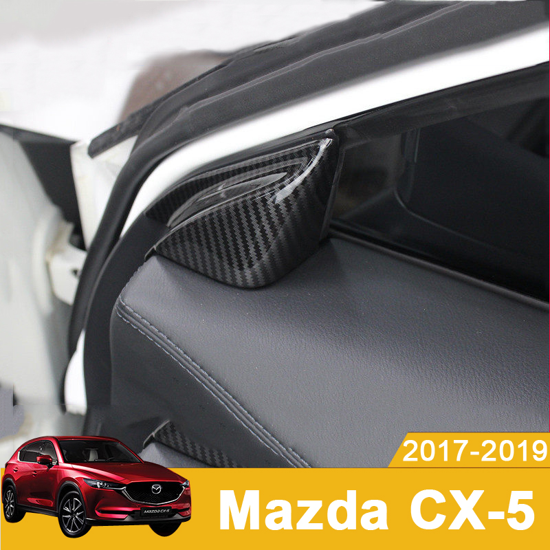 <font><b>For</b></font> <font><b>Mazda</b></font> <font><b>CX</b></font>-<font><b>5</b></font> CX5 <font><b>CX</b></font> <font><b>5</b></font> 2017 <font><b>2018</b></font> <font><b>2019</b></font> Carbon fiber Car Front Door Window Inner Triangle A Colum Cover Stickers Trim Accessories image