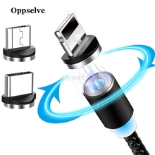 Oppselve 2019 LED Magnetic USB Cable For iPhone Micro USB  C Type C Magnet Charger Nylon Cabo For Samsung Xiaomi Huawei USB Cord cafele new led magnetic usb cable for iphone micro usb cable usb c magnet charger nylon cabo for samsung xiaomi huawei