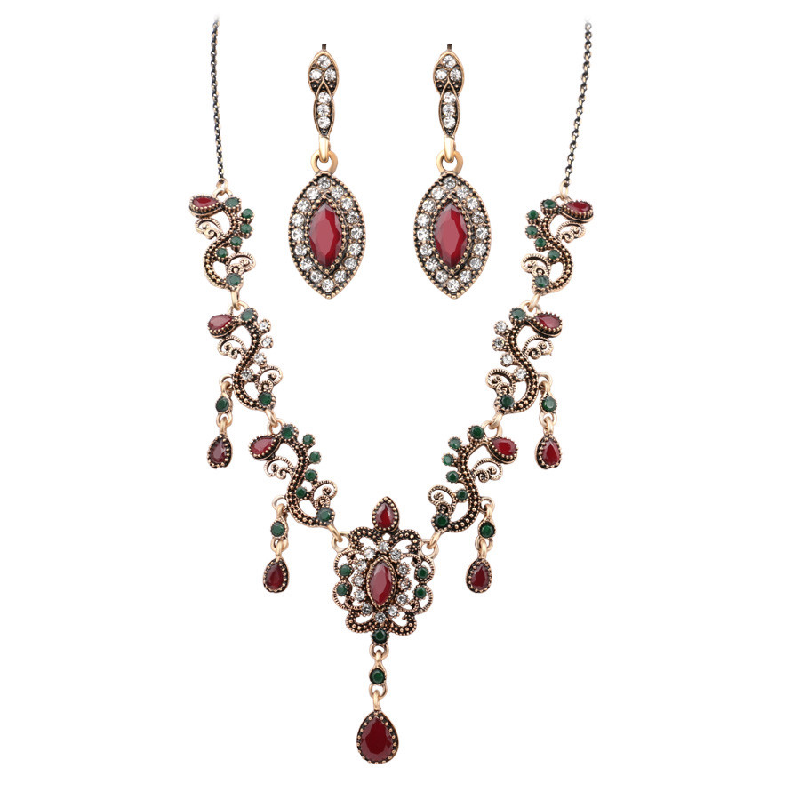 HTB1cs26dA9WBuNjSspeq6yz5VXaK - 4Pcs/lot Boho Turkish Jewelry Sets Vintage Red Necklace Bracelet Earrings Ring Set Indian Crystal Antique Gold Wedding Jewellery