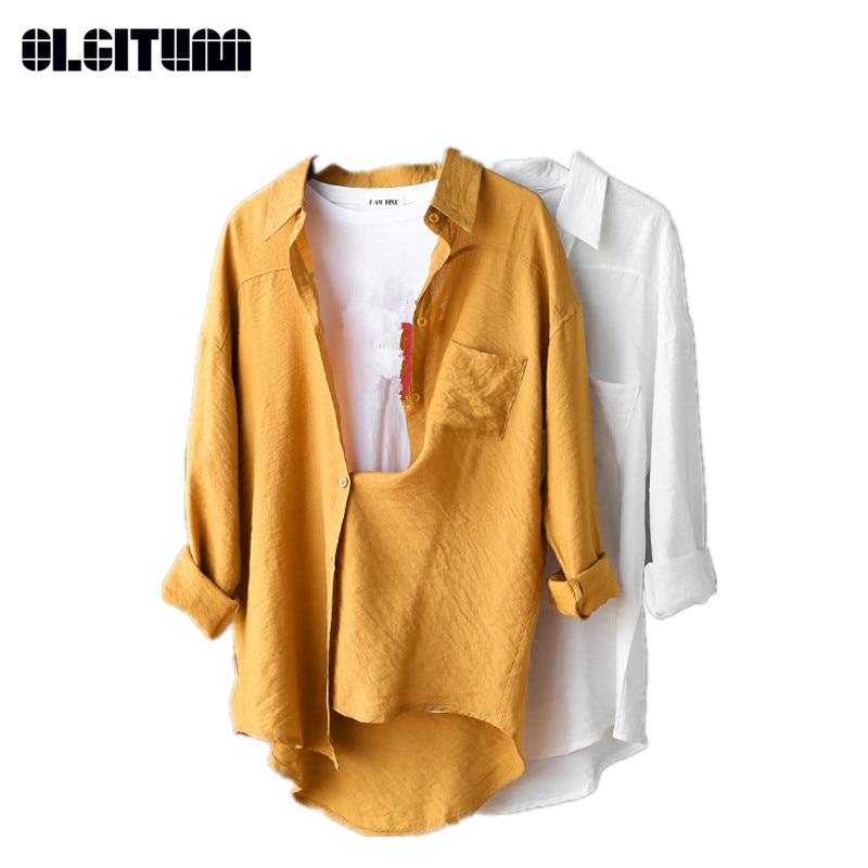 Рубашка с длинными рукавами для Новинка; для женщин свободные блузки рубашки осень Повседневное дамы рубашка сплошной Цвет рубашка для дев...